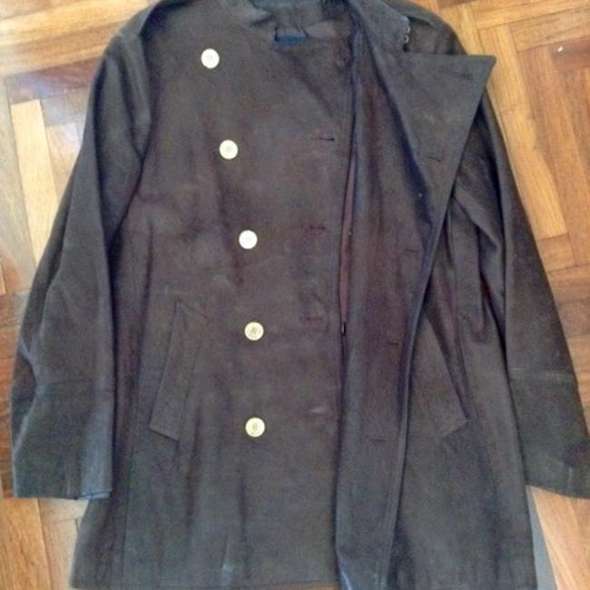 Ralph Lauren Vintage Distressed Leather Military Style Gold Buttons Coat