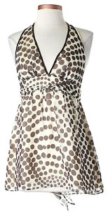 MILLY Silk Polka Dot Print Tie Halter Top