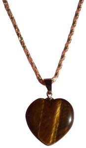 Unknown New Marbled dark amber heart necklace