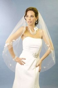 Pearl And Rhinestone Veil With Applique Designs