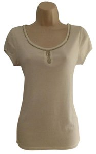 Ann Taylor Embellished Bead T Shirt White