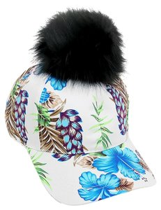 Multicolor Blue Floral Fur Pom Pom Baseball Cap Hat