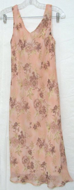 Pink Maxi Dress by Connected Apparel New With Tag Chiffon Floral Shift S M Sleeveless Strap Long Maxi