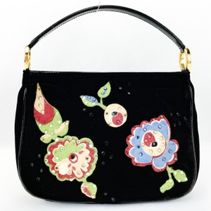 Moschino Velvet Flowers Felt Evening Pochette Satchel in Black