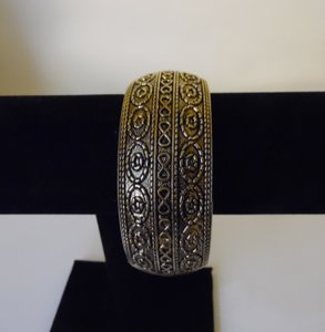 Big and Bold Scroll Design Hinged Bangle Bracelet Fits 7 to 8 inch wrist