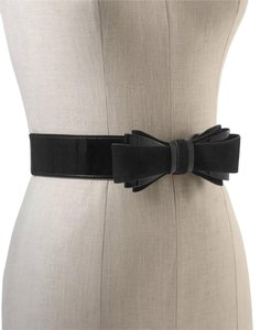 White House | Black Market Suede/Patent Bow Stretch Belt, Size Small