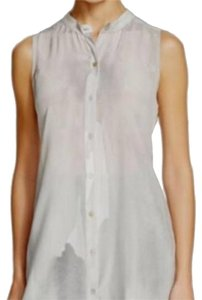 Eileen Fisher Mandarin Collar Sleeveless Blouse Button Down Shirt