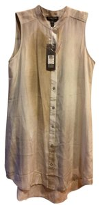 Eileen Fisher Mandarin Collar Sleeveless Silk Abstract Button Down Shirt Beige /White