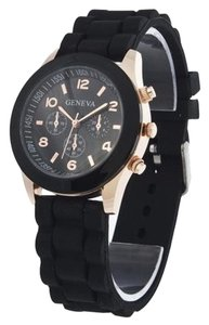 Geneva Black & Rose Gold Sports Unisex Quartz Watch Free Shipping