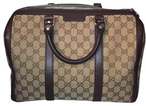 Gucci Vintage Leather Monogram Satchel in Canvas
