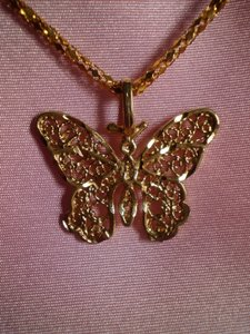 Unknown Goldtone butterfly necklace