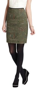 Anthropologie Quilted Embroidered Skirt Green