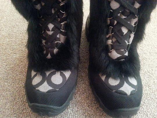 Coach Black Fur and Gray Boots