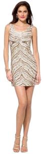 Cache Sleeveless Sequin Zebra Dress