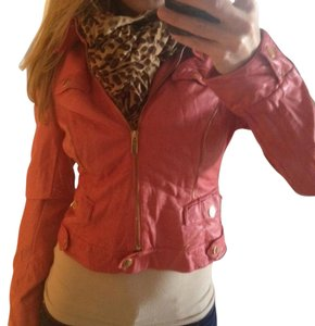 bebe Coral Motorcycle Pink Coral Coral Leather Motorcycle Jacket