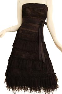 BCBGMAXAZRIA Feather Lace Silk Dress