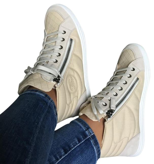 Item - Trainers Sneakers High Too Lace Up Beige White Tennis Flats Pumps Size US 10.5 Regular (M, B)