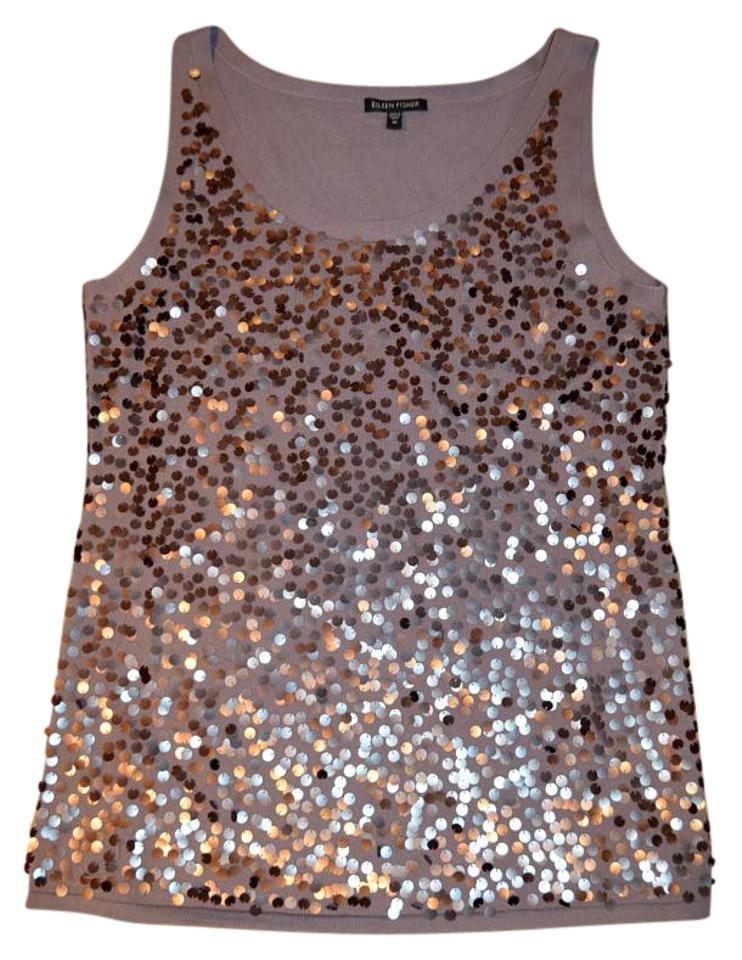 47f8e0dadb4 Eileen Fisher Gray Sexy Shimmery Merino Wool Sequines Tank Top Cami ...