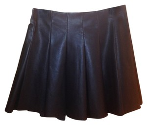 5/48 Faux Leather Zipper Highwaist Mini Flare Mini Skirt Black