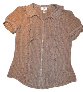 Ann Taylor LOFT Feminine Ruffles Exotic Button Down Shirt Brown