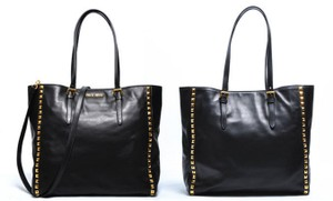 Miu Miu Studded Italian Edgy Tote in Black