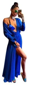 New Royal Blue Chiffon Maxi Length Coverup Cardigan Robe OS