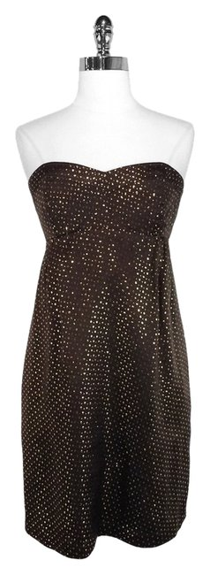 Preload https://item1.tradesy.com/images/shoshanna-brown-and-gold-dotted-silk-strapless-knee-length-cocktail-dress-size-4-s-1632210-0-0.jpg?width=400&height=650
