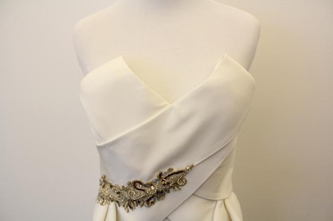 Marchesa Peplum White Silk Dress