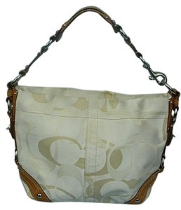 Coach Carly Optic Signature Tote in Tan & Ivory