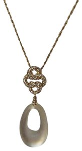 Alexis Bittar Gold-tone Ivory White Lucite Mod Pendant Necklace with Crystals