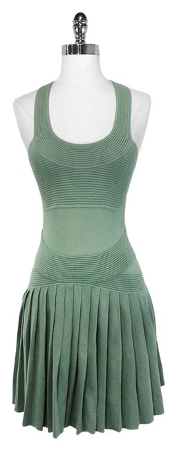 Item - Seafoam Green Cotton Pleated Knit Knee Length Formal Dress Size 4 (S)