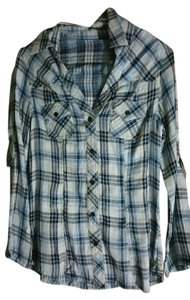 Forever 21 Plaid Button Down Shirt blue