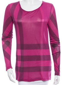 Burberry Nova Check Plaid Cotton Top Purple, Black, Pink