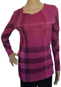 Burberry Nova Check Plaid Cotton Monogram Longsleeve Top Purple, Black, Pink