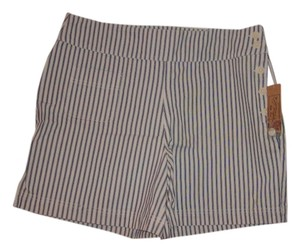 Lauren Jeans Company Shorts Blue and White Ticking (Blue stripes on white background)