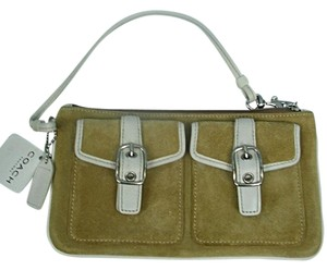 Coach Coach Tan Suede & Ivory Leather Wristlet #FS7835