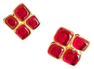 Chanel Chanel Classic Red Gripoix Earrings Square Shape Gold Tone Clip Style