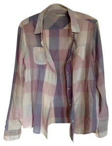 Maison Scotch Plaid Button Down Shirt pink, blue, white
