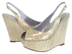 Sergio Rossi Cream Leather Wedges