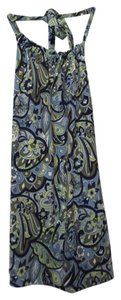 Ann Taylor Shelf Bra Paisley Stretchy Shades of blue and green with white Halter Top