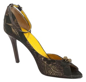 Cynthia Vincent Green & Gold Metallic Pumps