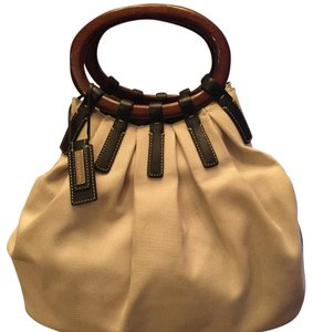 Antonio Melani Tote in Cream Fabric/Black Leather