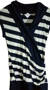 Wet Seal Striped V-neck Top navy, white