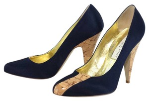 Stella McCartney Navy Blue Satin Pumps