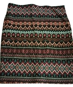 Forever 21 Aztec Pattern Bodycon Mini Skirt multicolor