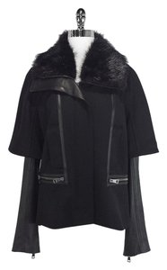Roberto Cavalli Leather Wool & Fur Jacket