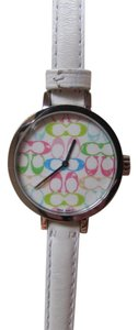 Coach Multicolor Signature Face Watch with White Leather Band