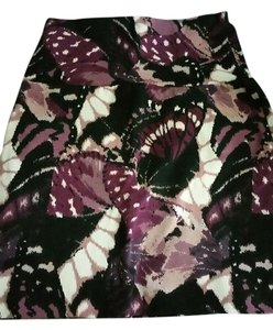 Wet Seal Butterfly Bodycon Mini Skirt black, white, purple