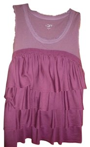 Ann Taylor LOFT Tier Ruffle Top magenta purple