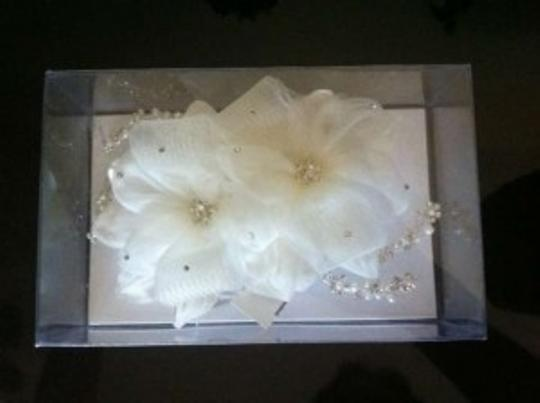 David's Bridal Ivory Organza Floral Comb with Swarovski Crystals and Pearl Accents Hair Accessory